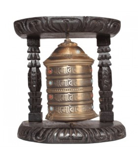 Gold and Black Wall Prayer Wheel
