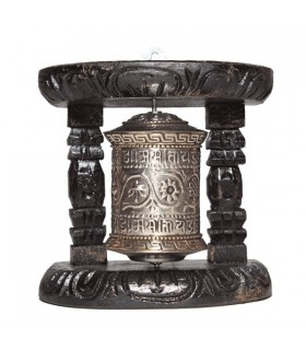 Black And Gold With Mystic Symbol Prayer Wheel