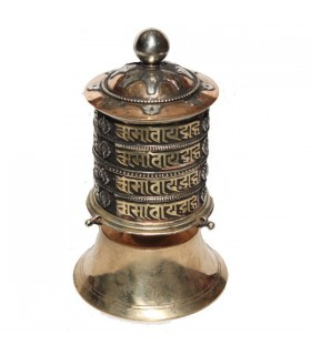 Bronze Top Spin Wall Prayer Wheel