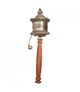 Silver Plated, Brown Handle, Prayer Wheel