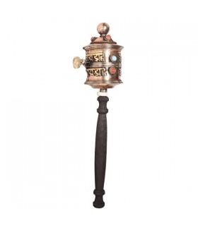 Black Handle, Copper Colored Prayer Wheel