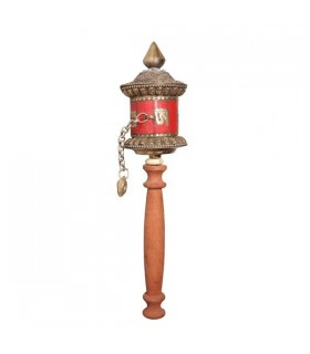 Red Coloured, Ligneous Handle Prayer Wheel