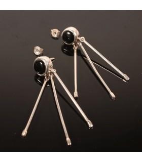 Danglers Black Onyx Silver Earrings