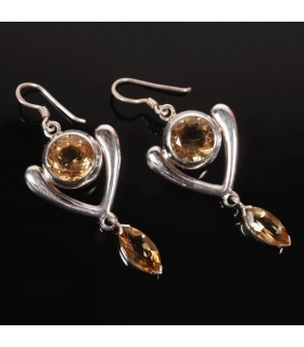 Heart of Citrine Silver Earrings