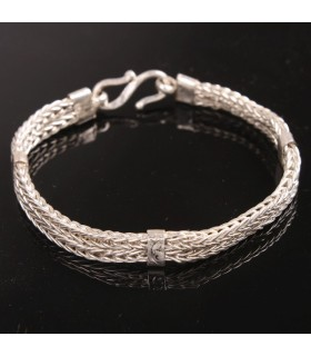 Double Plaited Silver Bracelet