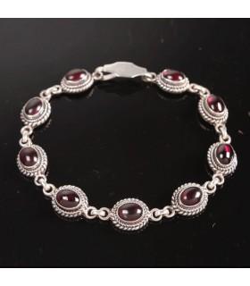 Lapis and Garnet Silver Bracelet