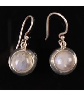 Rainbow Moon Stone Silver Earrings