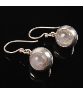 Rainbow Moon Stone Silver Earrings