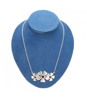 Tri-floral Garnet Silver Necklace