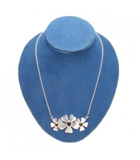 Tri-floral Garnet Silver Necklace