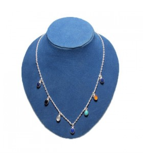 Colorful Stones Silver Necklace