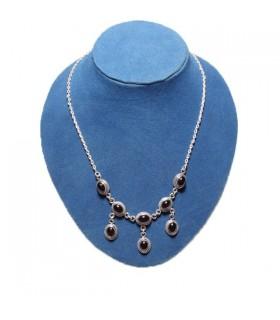 Eight Garnet Silver Necklace