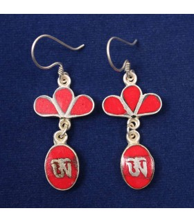 CORAL STONE DOUBLE LAYERED EARRING