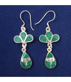 GREEN JADEITE LAYERED EAR RING