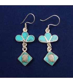 TURQUOISE DOUBLE LAYERED EARRING