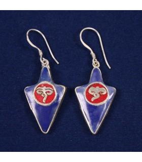 TRIANGLE SHAPED TIBETAN EARRINGS