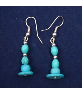 Blue beaded bone earrings