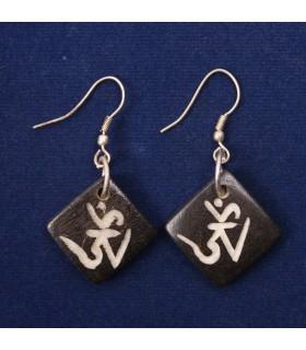 Sanskrit Om carved earrings