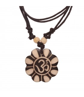 Bone scalloped Om locket