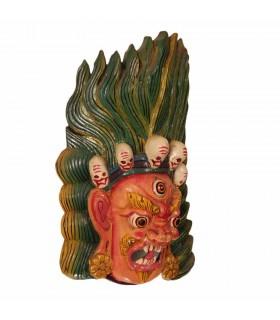 Long Haired Bhairav Wooden Mask