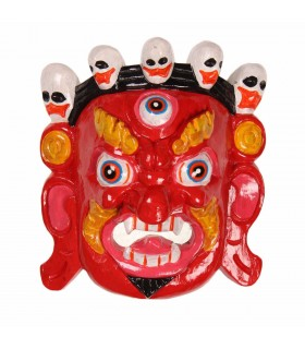 Red Bhairav wooden mask