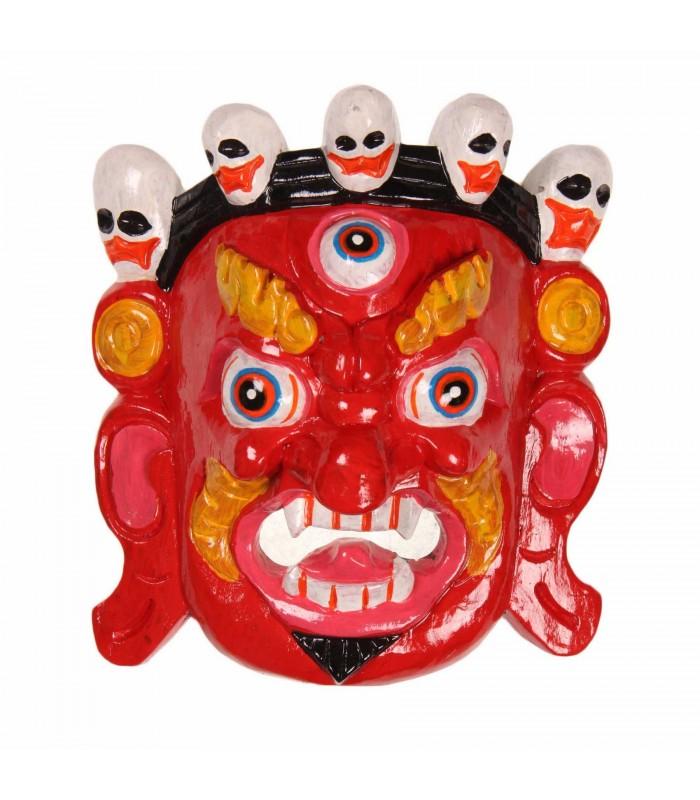 Red Bhairav wooden mask