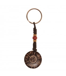 Round Tibetan mantra key chain