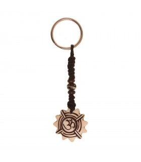 Round scalloped Om key ring