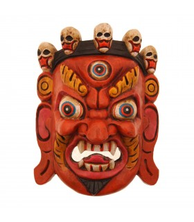 Orange Bhairav wooden mask