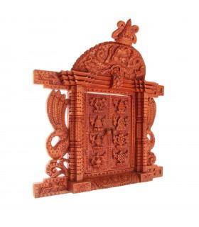 Tibetan Symbols Crafted Wooden Door