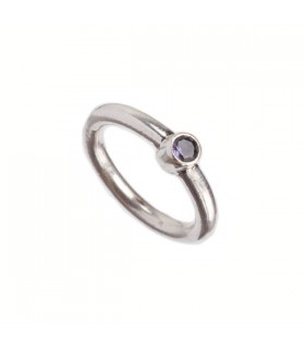 Plain Stone Studded Silver Ring