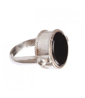 Black or Red onyx Silver Ring