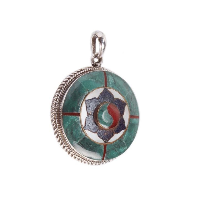 MIxed Stone Lotus Pendant