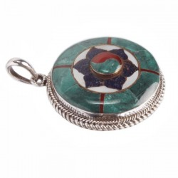 Mixed Stone Lotus Pendant