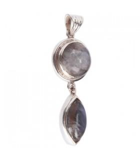 Dual Garnet Silver Pendant