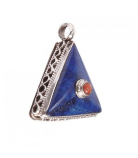 Triangular Pendant with Lapis and Coral