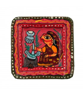 Square Plate Depicting Mithila Art