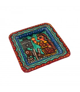 Square Plate Depicting Mithila Art