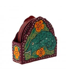 Colorful Coaster Depicting Mithila Art
