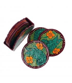 Colourful coaster depicting Mithila art